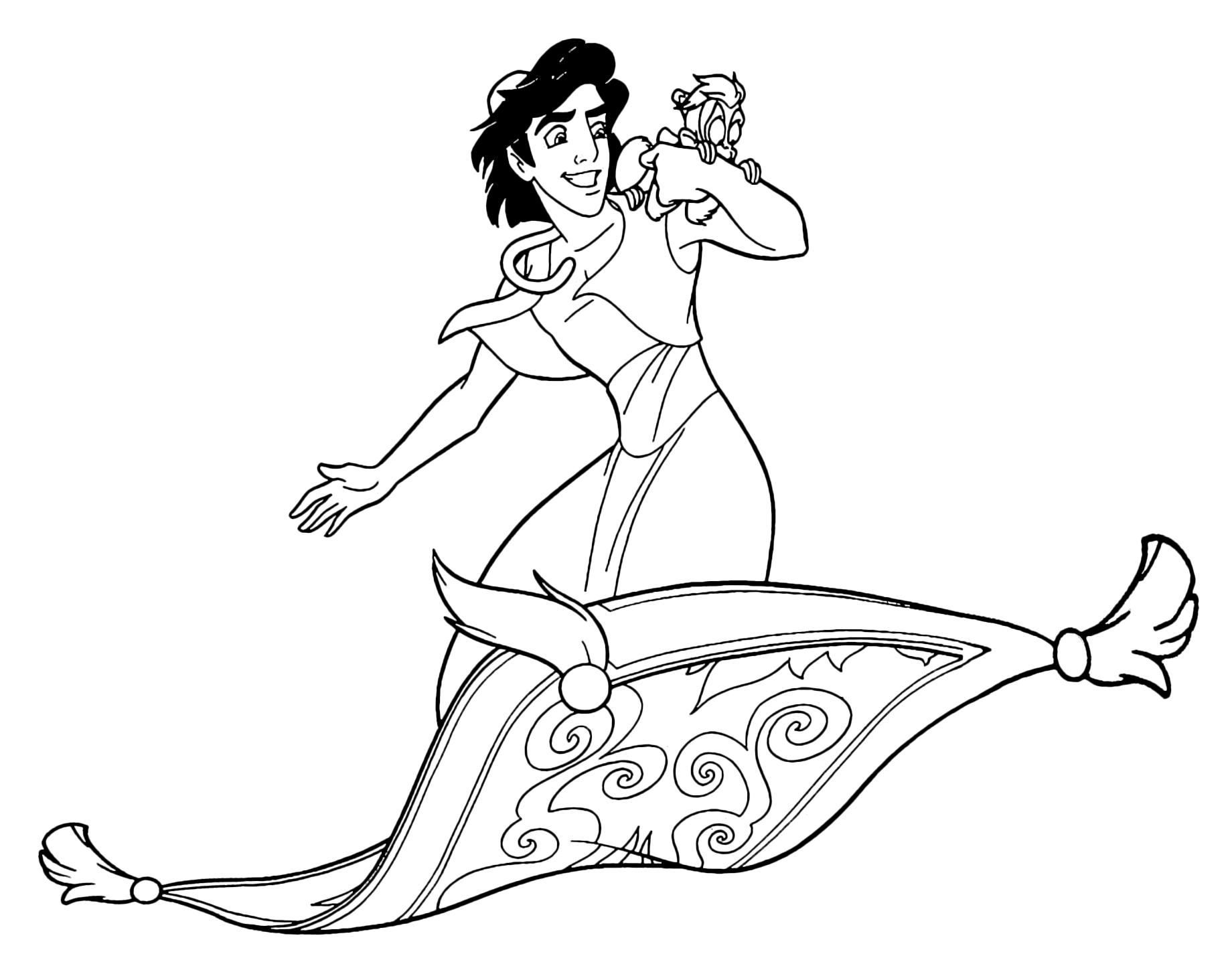 Aladdin - Aladdin e Abu volano sul tappeto magico