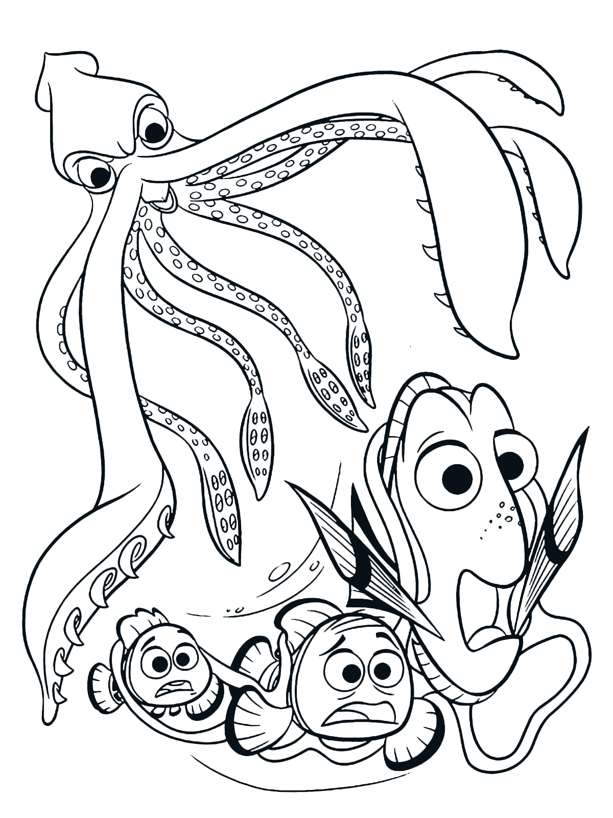 Squid And Kraken Coloring Pages
