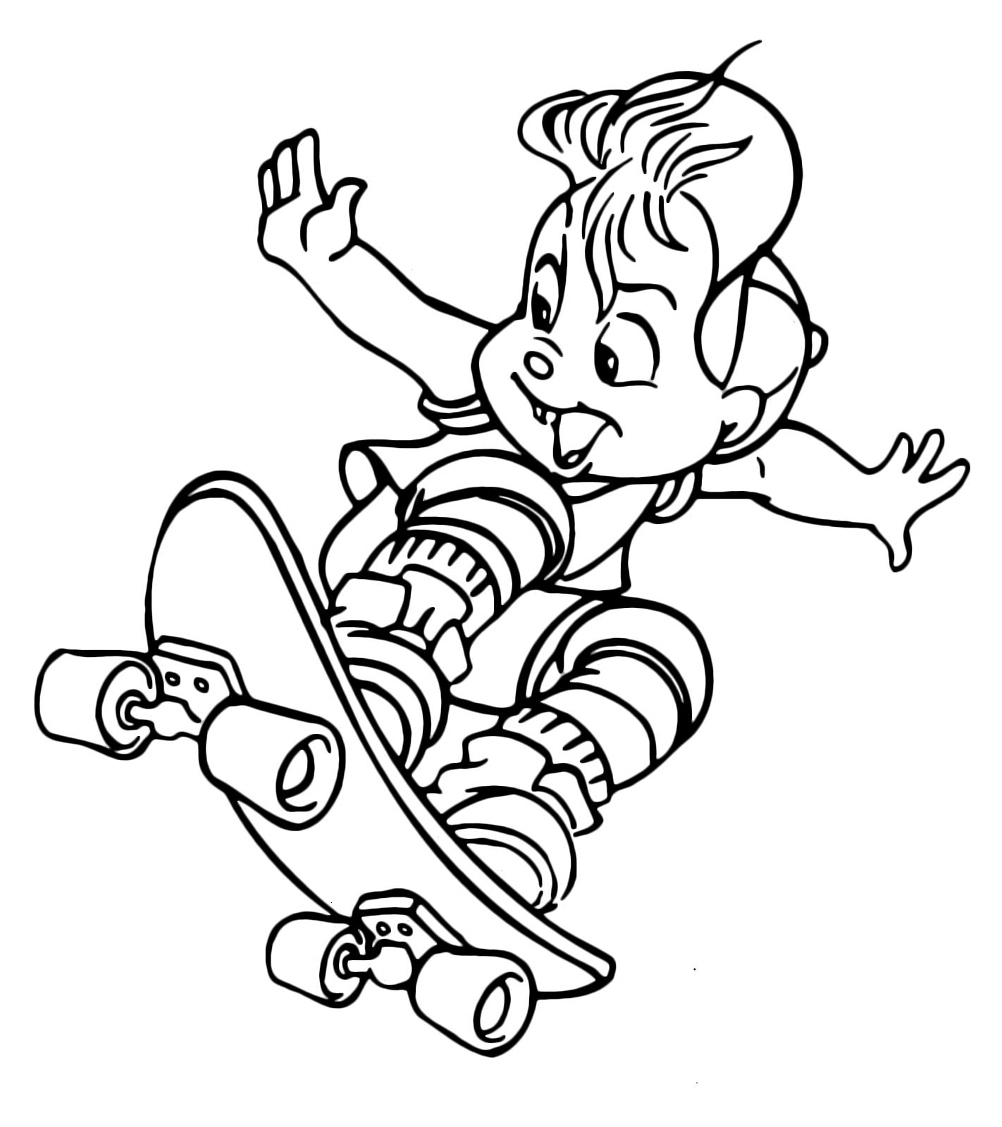 Alvin and the chipmunks alvin salta con lo skateboard for Alvin da colorare