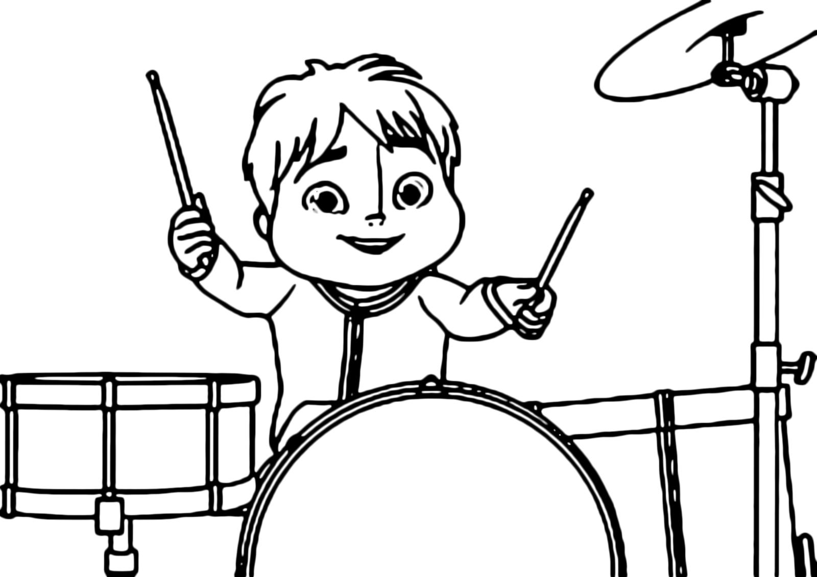 Alvin and the chipmunks theodore suona la batteria for Immagini da colorare alvin