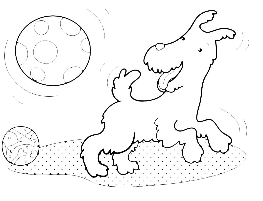 Animali cane che gioca con le palle - Cane da colorare le pagine libero ...