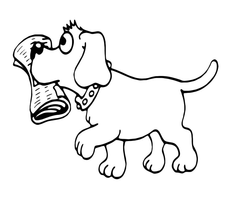 Animali cane che porta il giornale for Cane disegno da colorare