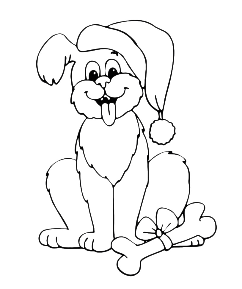 Animali cane con il cappello natalizio for Cane da colorare e stampare