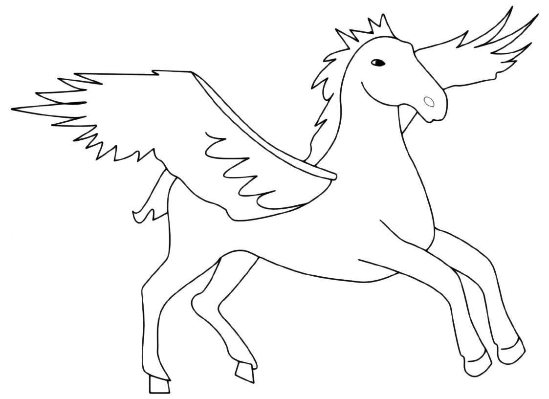 Animali cavallo alato for Disegni di cavalli da stampare e colorare