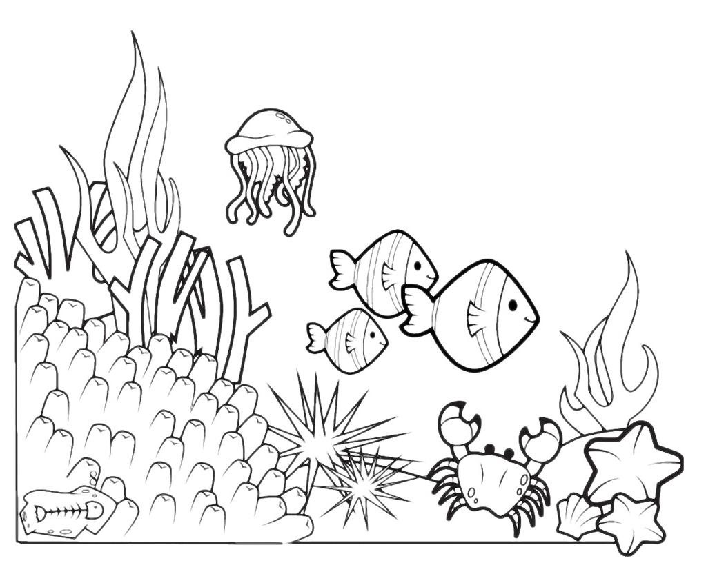 Animali fondale marino for Pesciolini da colorare e stampare