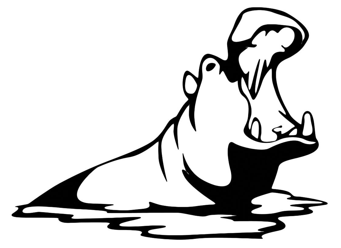 Animali ippopotamo con bocca aperta for Bocca da colorare