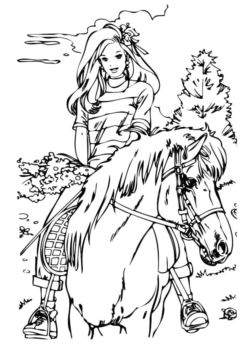 Animali ragazza a cavallo for Disegno bambina da colorare
