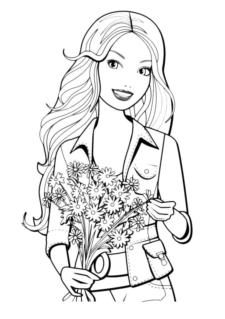 Barbie barbie con un mazzo di fiori for Immagini della pimpa da colorare
