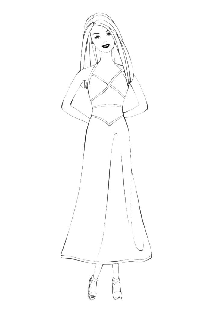Раскраска девочка в платье - 9