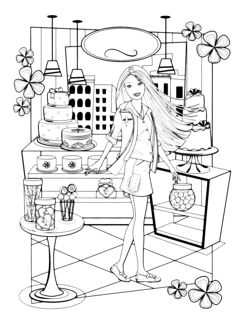barbie barbie in un negozio di dolci