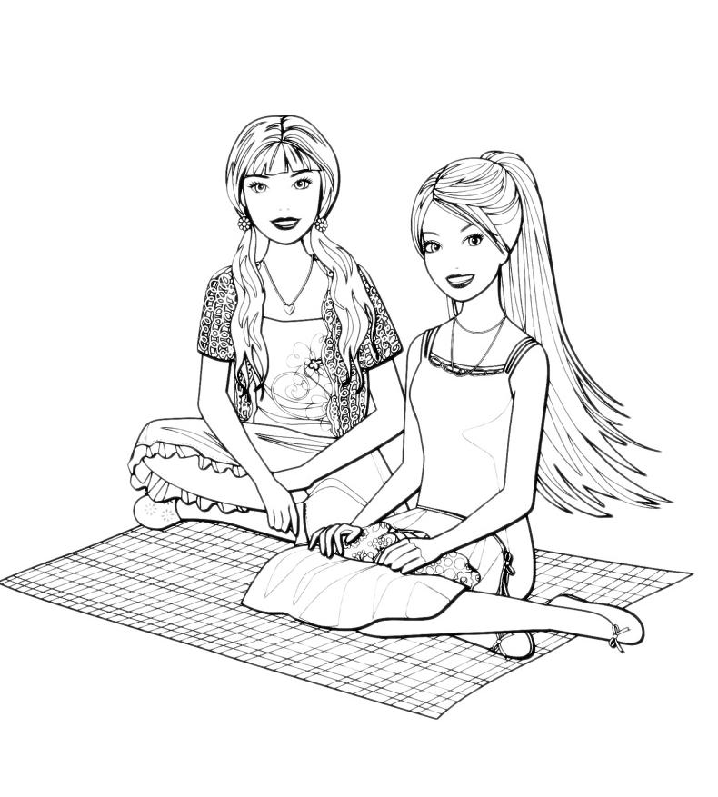 Barbie Barbie Seduta Su Una Coperta Con Un Amica