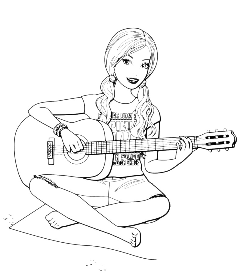 Barbie barbie suona la chitarra for Disegni barbie da colorare