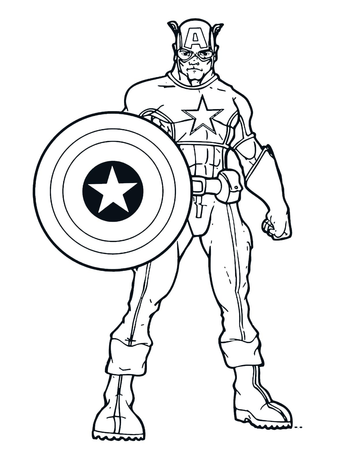 Capitan america capitan america in posa con il suo scudo for Immagini super eroi da colorare