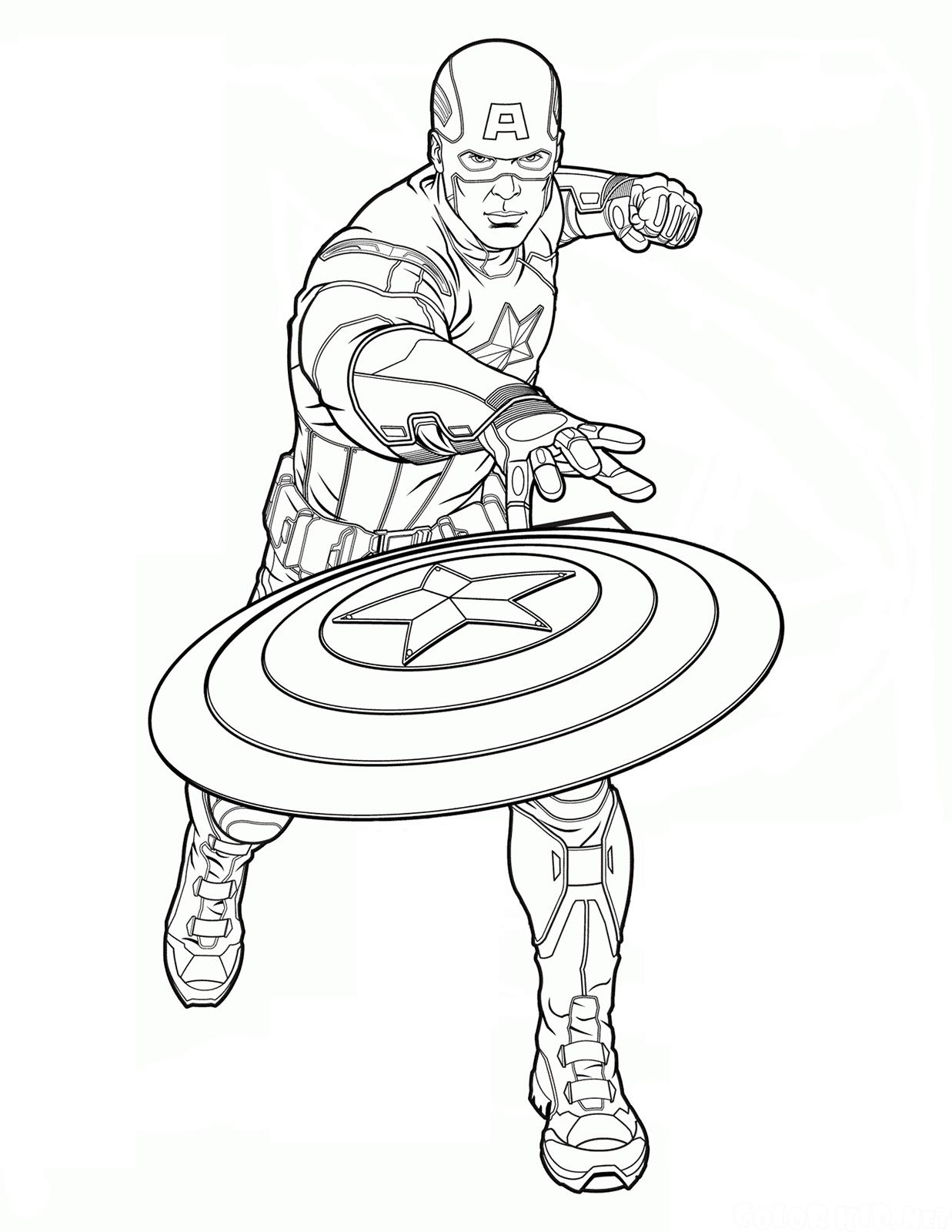 Capitan america capitan america lancia il suo scudo for Immagini super eroi da colorare