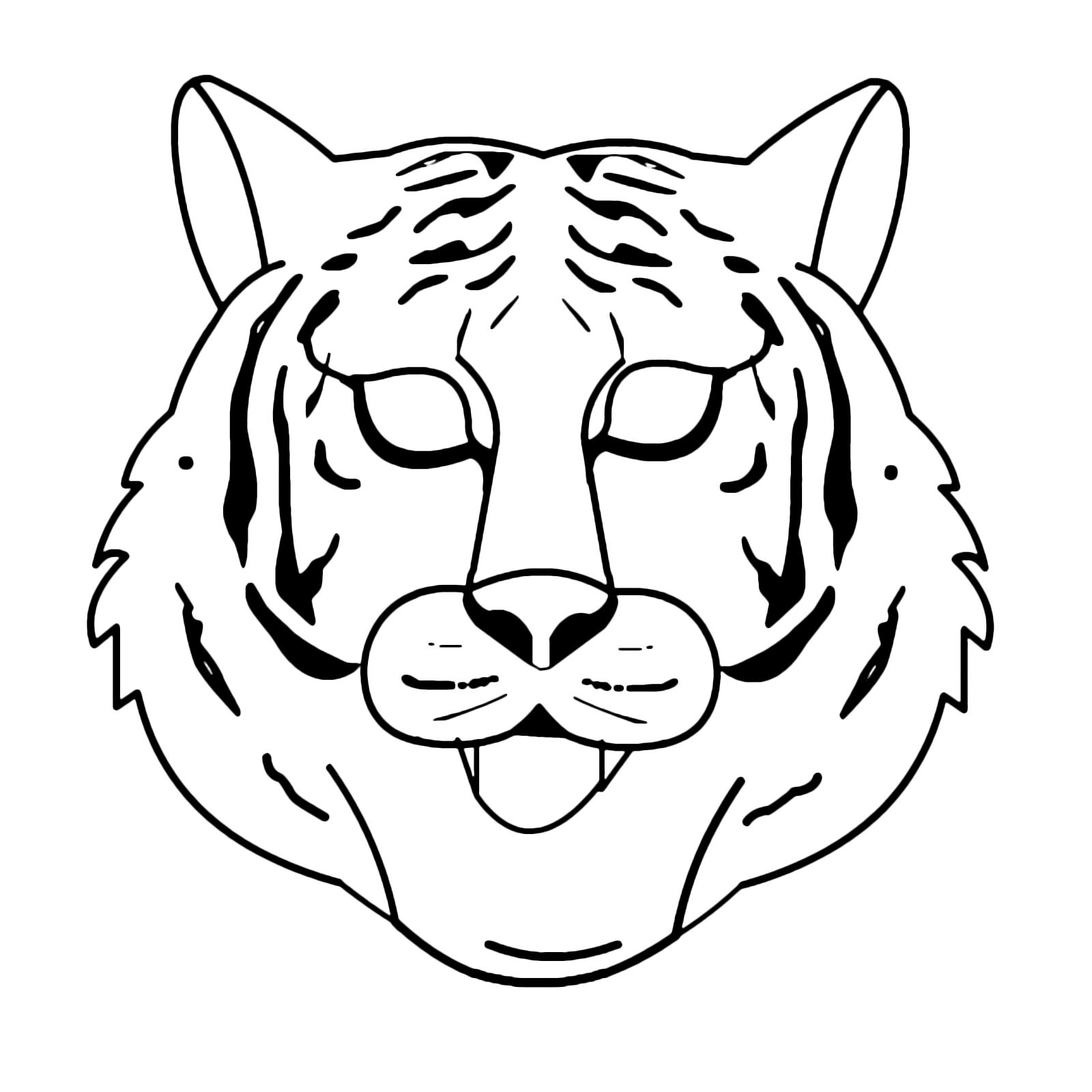 Carnevale maschera da tigre da colorare for Disegno pagliaccio da colorare