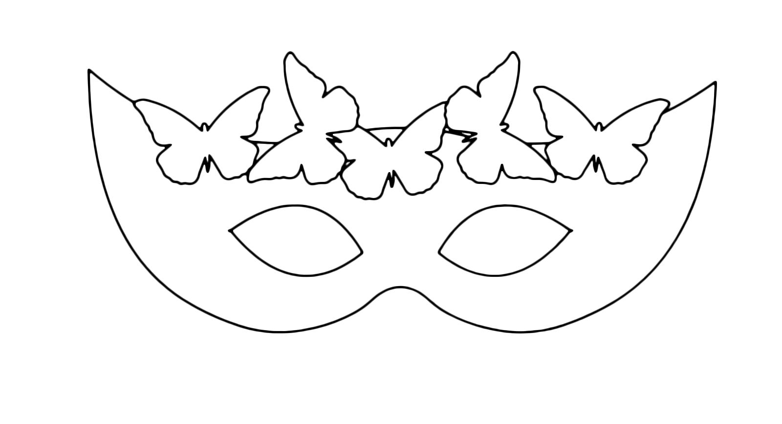 Carnevale maschera di carnevale con le farfalle da colorare for Maschera di flash da colorare