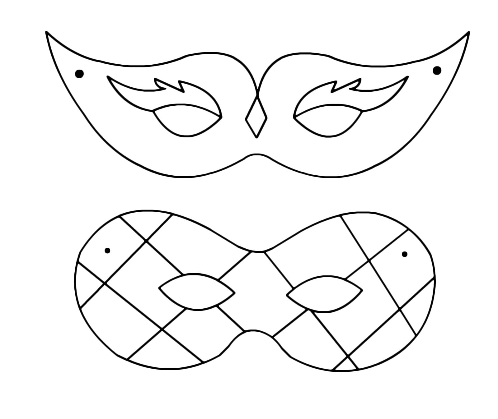 Disegni Di Maschere Di Carnevale Da Colorare.Carnevale Una Maschera Di Arlecchino E Una Da Dama Da Colorare