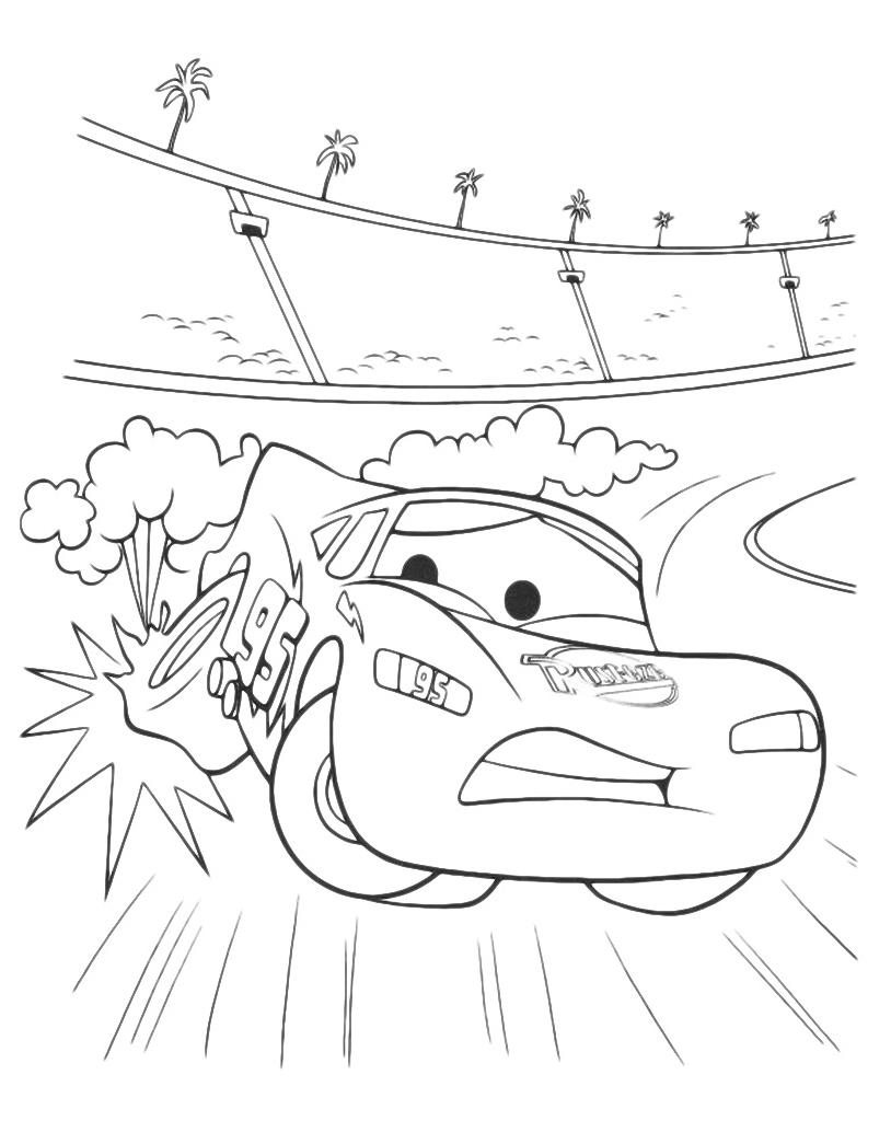 Cars saetta mcqueen buca una gomma in curva for Cars 2 da stampare