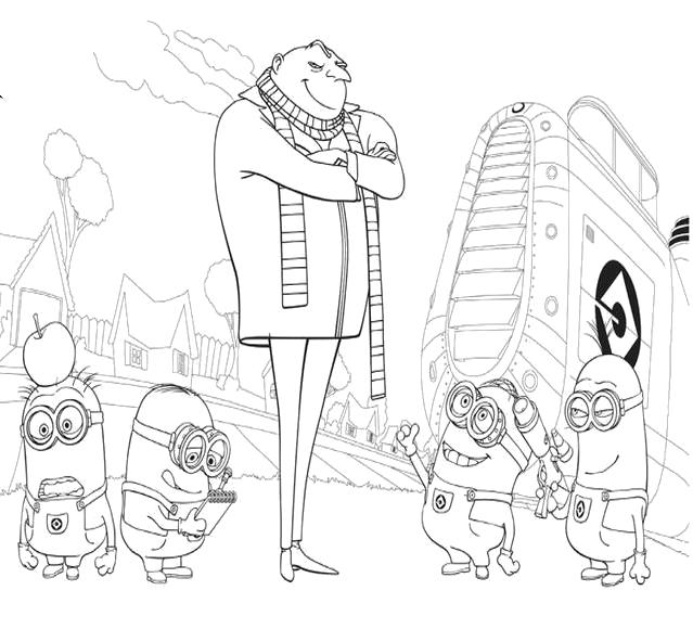 Cattivissimo me gru e i minions vicino all 39 astronave for Minions immagini da colorare