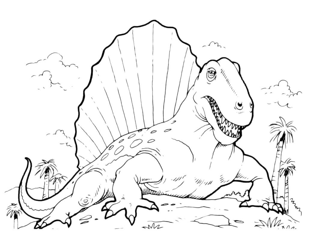Dinosauri il dimetrodonte e la sua vela for Disegni da colorare dinosauri
