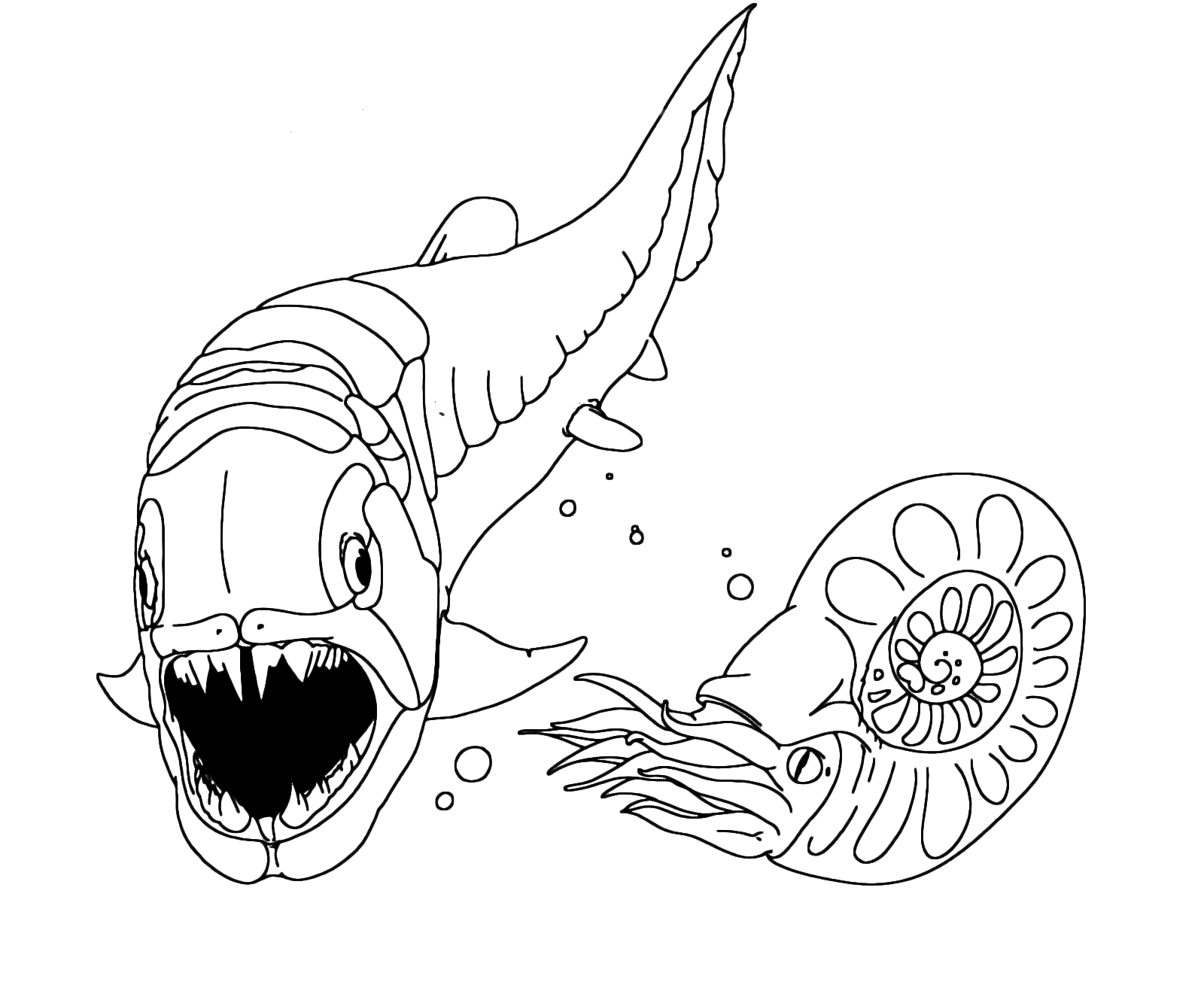 Dinosauri il dunkleosteus fa vedere i suoi denti al nautilus - Immagini dei denti da colorare ...