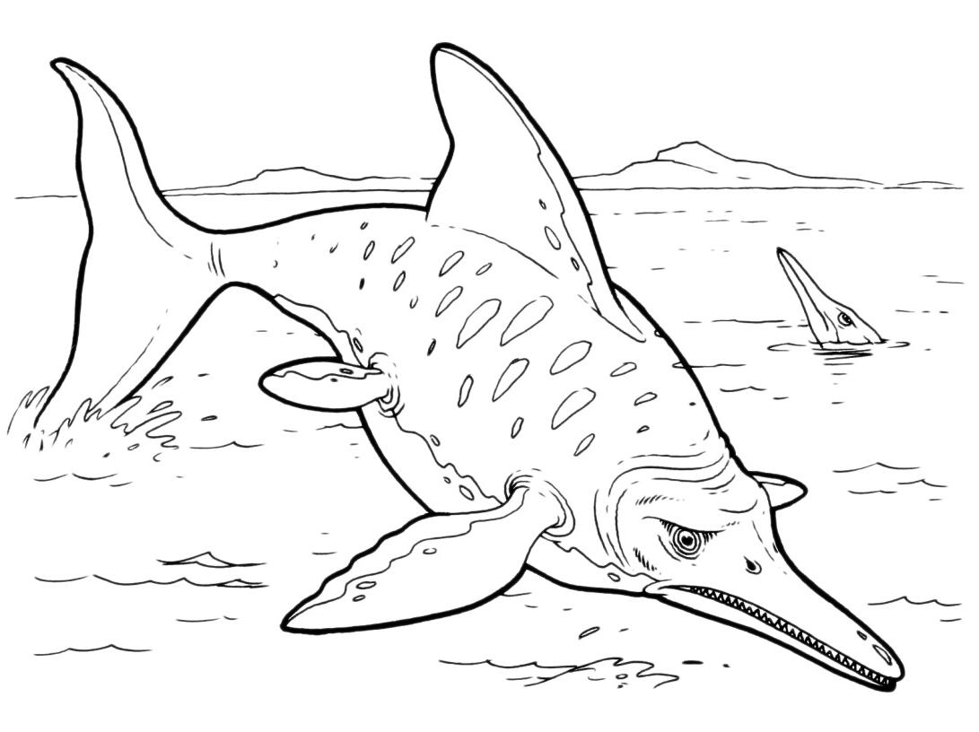 Dinosauri un ittiosauro salta fuori dal mare for Disegni di mare da colorare
