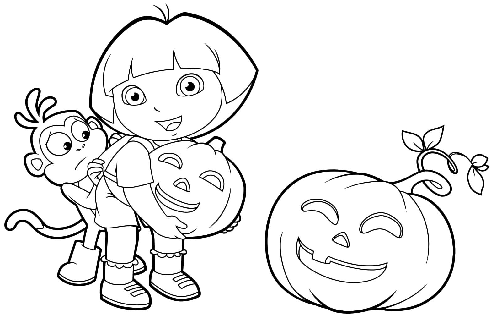 Zucca Halloween Da Colorare: Boots Si Nasconde Dietro Dora