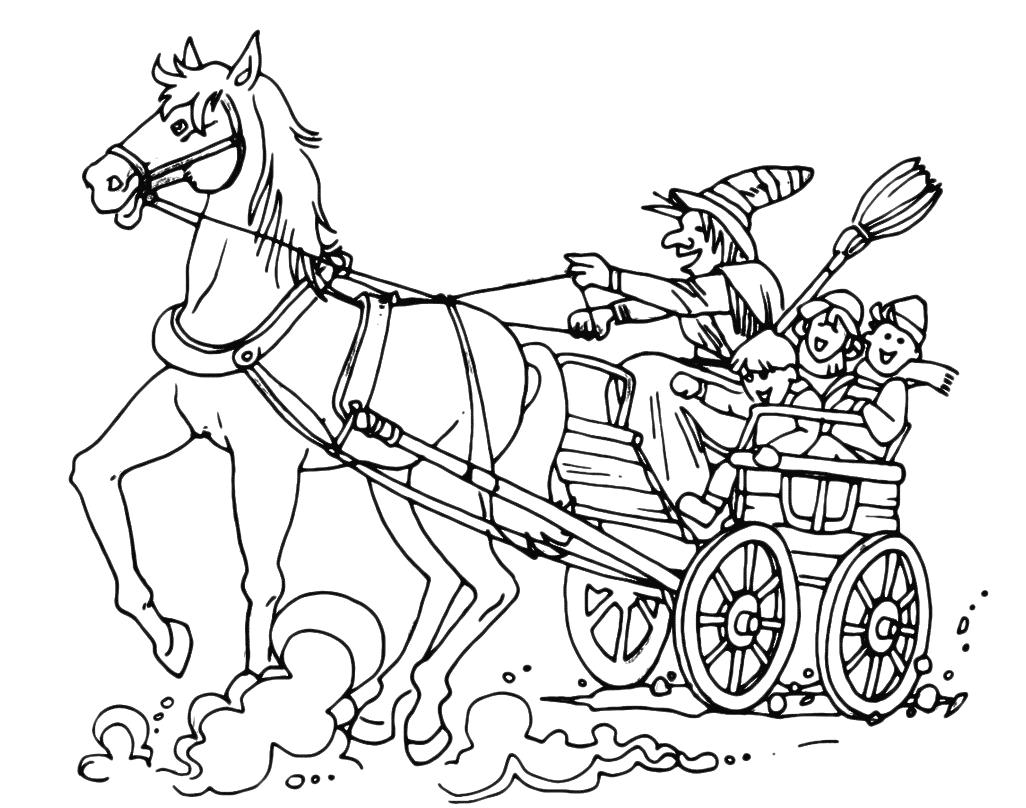 Epifania Befana Con Cavallo E Carro Insieme Ai Bambini