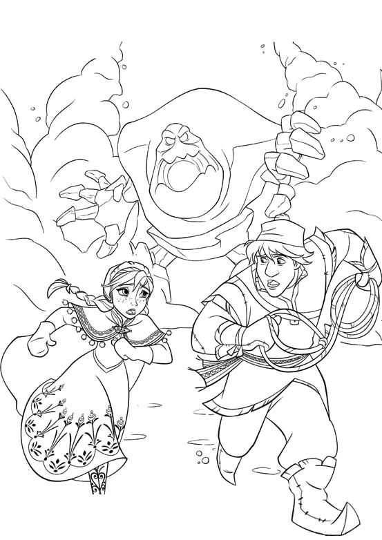 Frozen anna e kristoff scappano inseguiti dal gigante di for Frozen da colorare e stampare