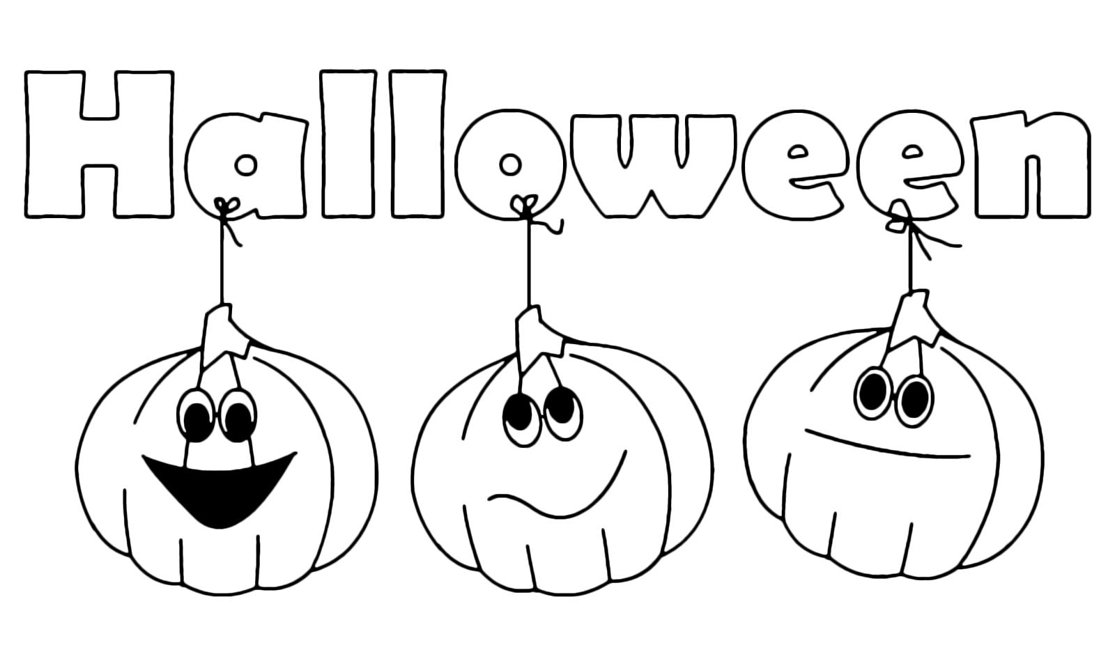 Zucca Halloween Da Colorare: Scritta Di Halloween Con Tre Zucche Attaccate