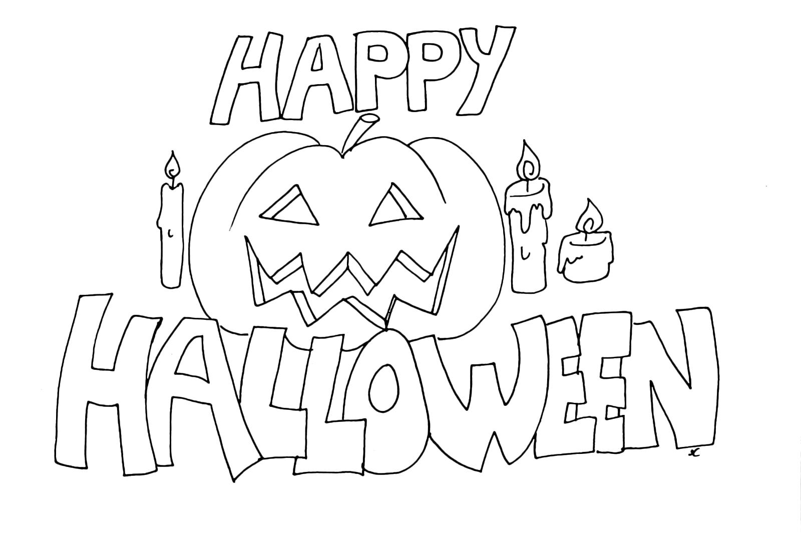 Zucca Halloween Da Colorare: Scritta Di Happy Halloween Con Una Zucca E Le