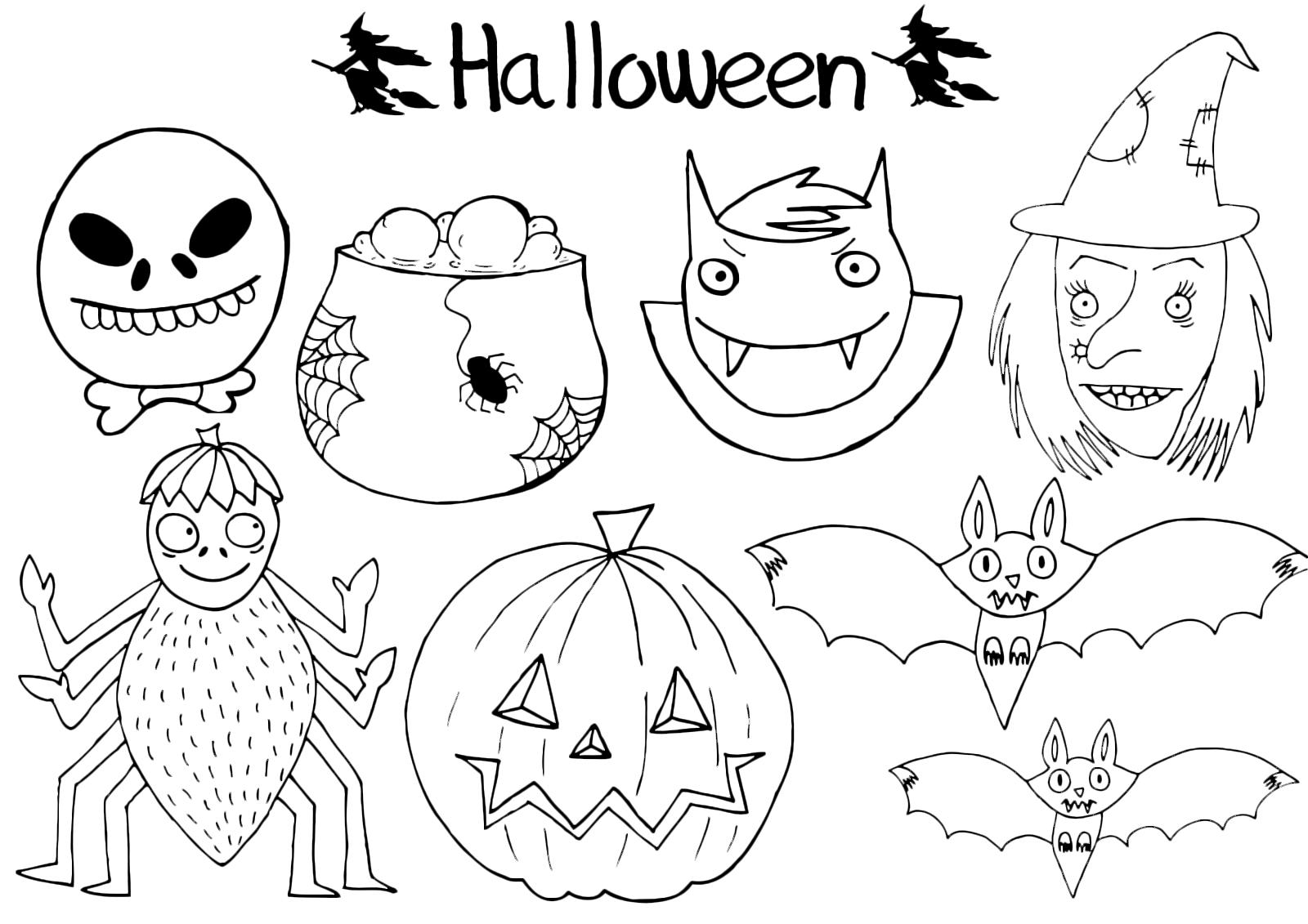 Halloween streghe teschi e tante altre immagini paurose for Disegni da stampare colorare e ritagliare
