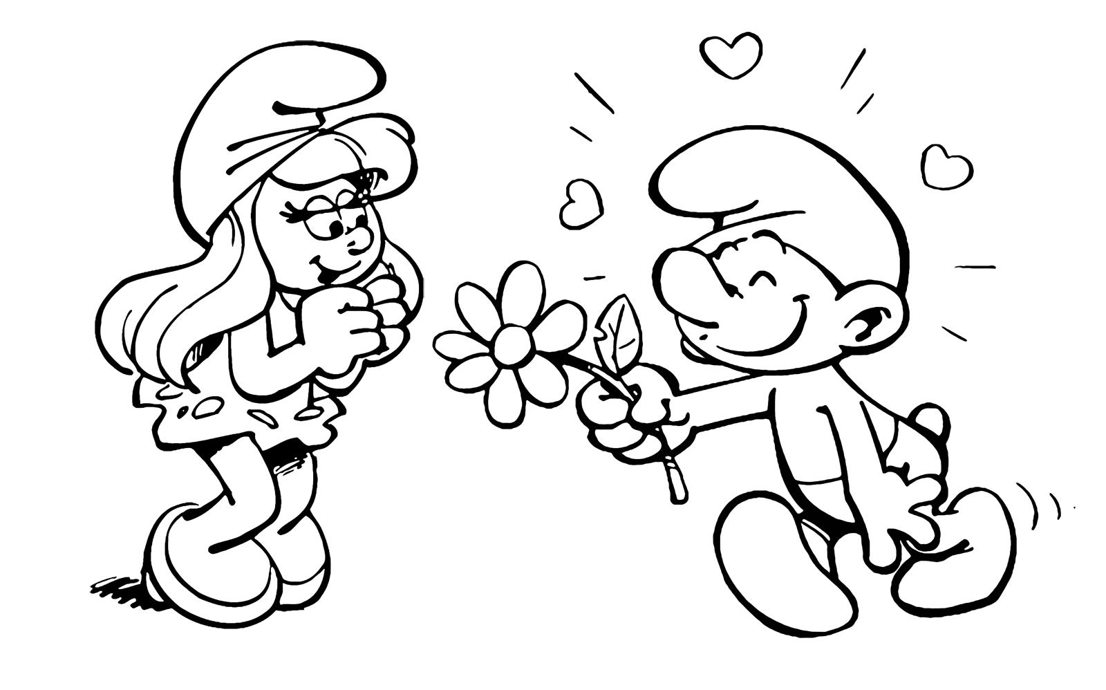 I Puffi Puffo Innamorato Sta Portando Un Fiore A Puffetta