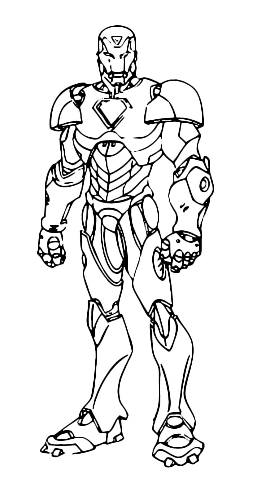 Iron man iron man in piedi nella sua armatura for Immagini super eroi da colorare