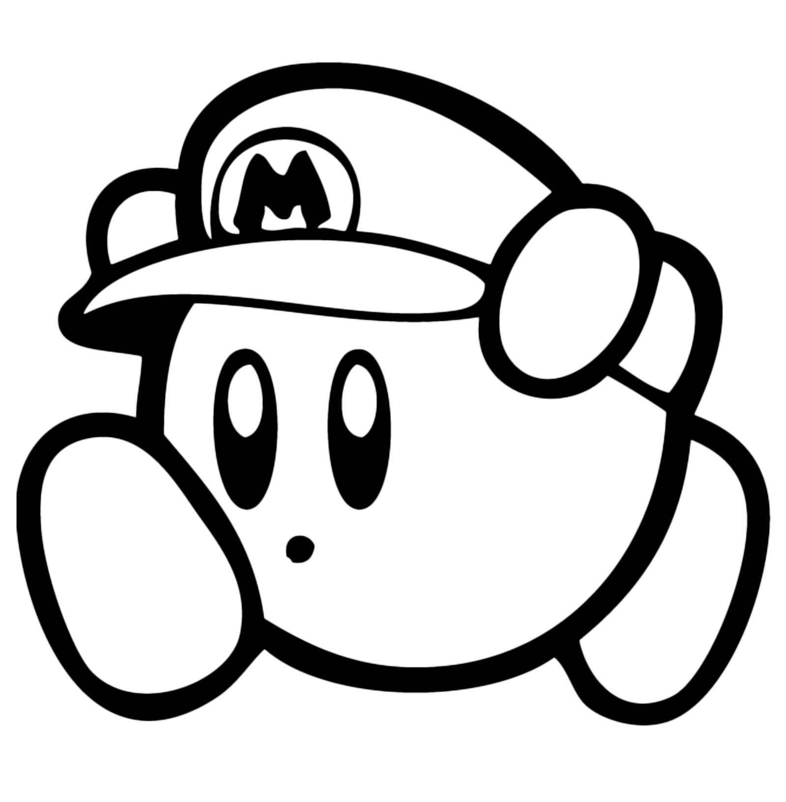 Kirby kirby con il cappello di super mario for Disegni da colorare super mario bros