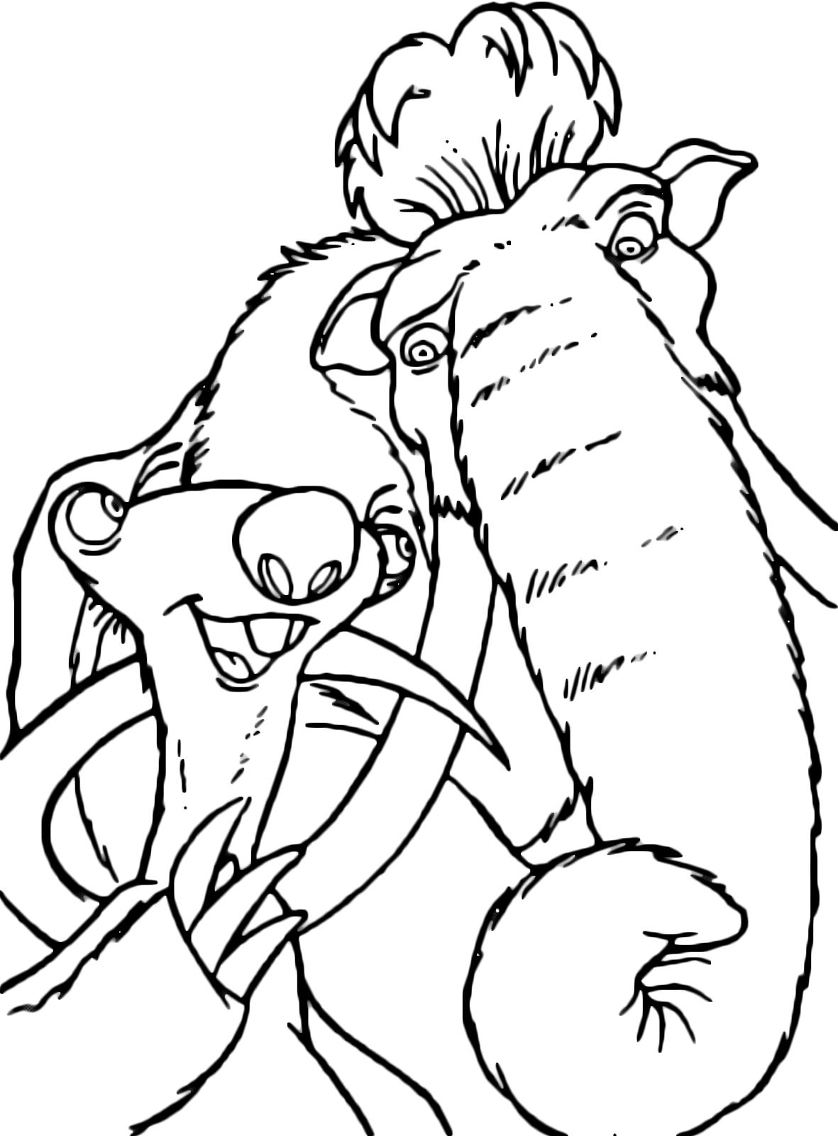 Ice Age Coloring Pages Pdf : L era glaciale sid il bradipo parla con manny mammut