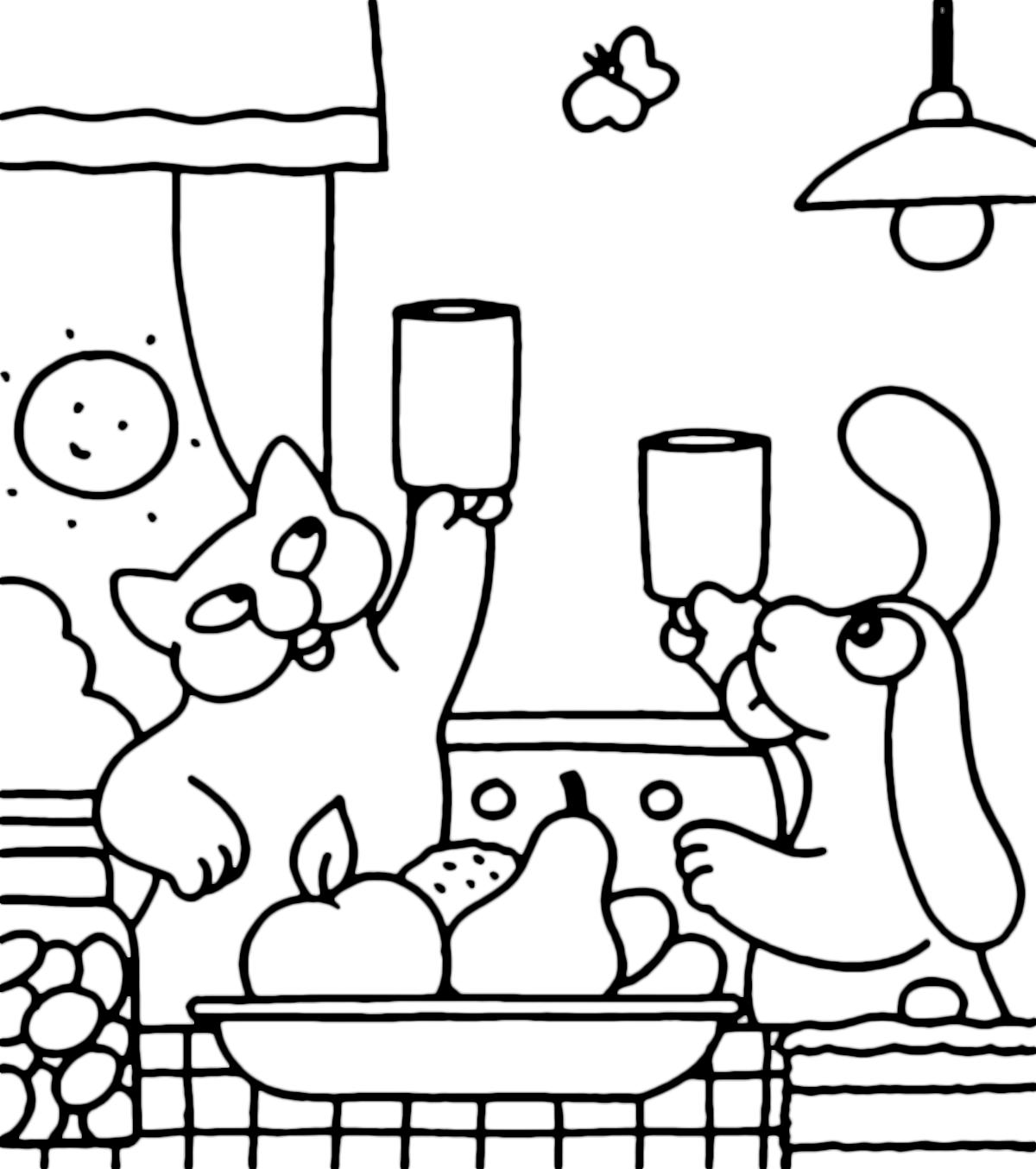La pimpa la pimpa e la gatta rosita brindano for Pimpa da colorare