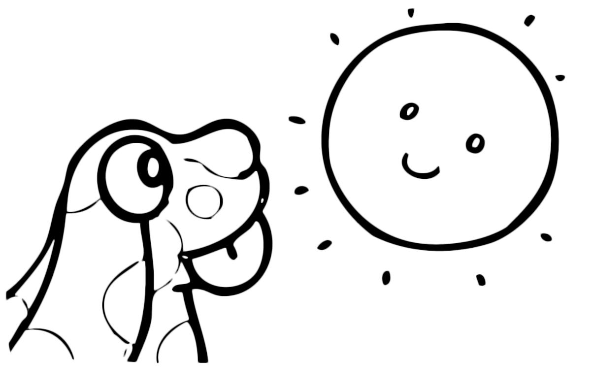 La pimpa la pimpa guarda il sole con la lingua di fuori for Immagini sole da colorare