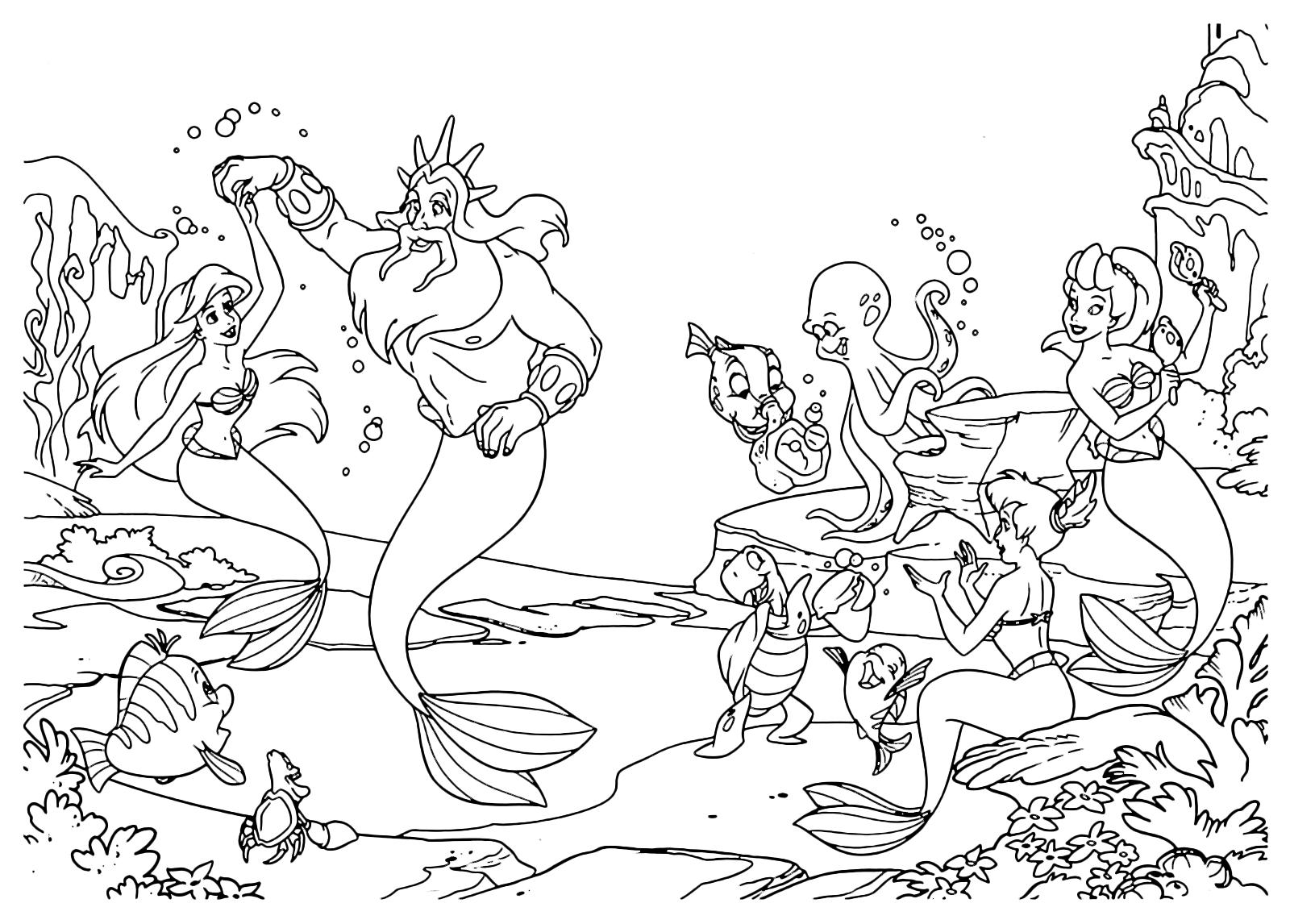 La sirenetta ariel balla con tritone mentre le altre for La sirenetta da stampare