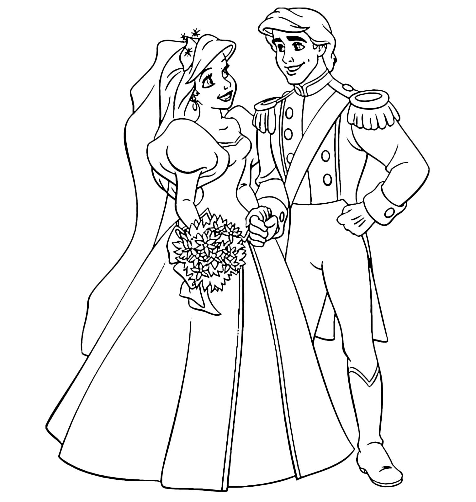 La sirenetta ariel ed il principe eric finalmente sposi for Immagini matrimonio da stampare