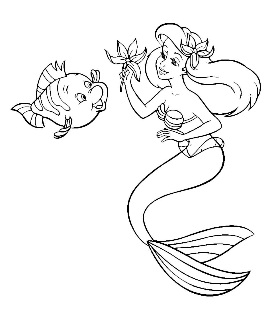 La sirenetta ariel gioca con flounder for Disegni da colorare ariel
