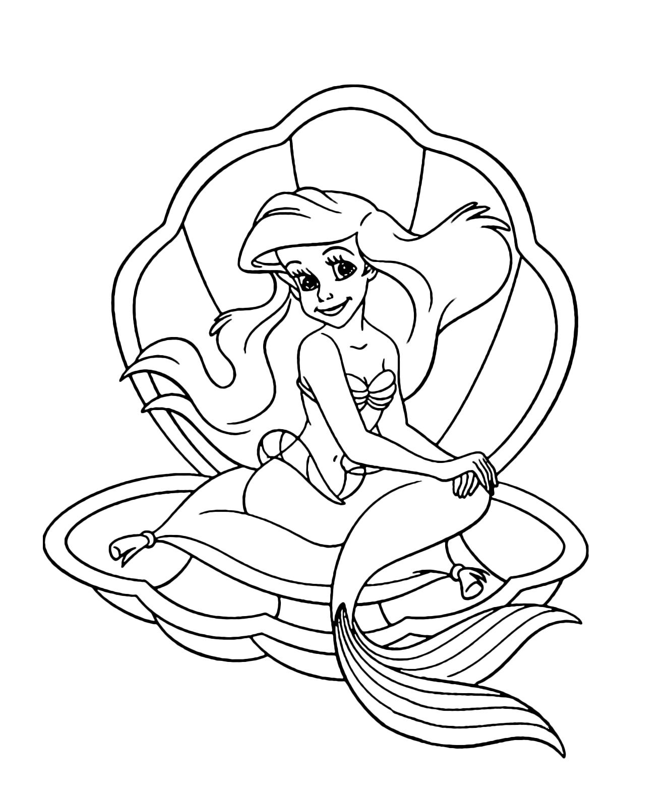 La sirenetta ariel seduta su un 39 ostrica aperta for La sirenetta da stampare