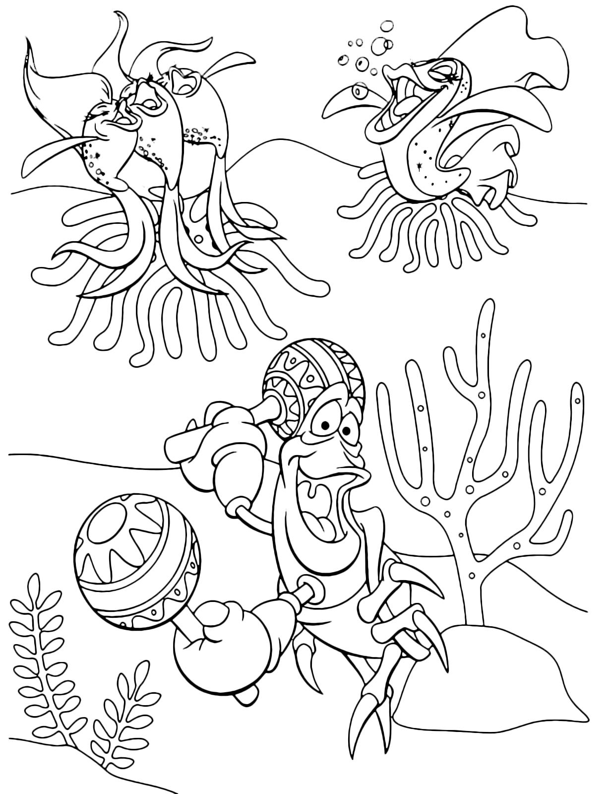 La sirenetta sebastian balla in fondo al mar con le maracas for La sirenetta da stampare