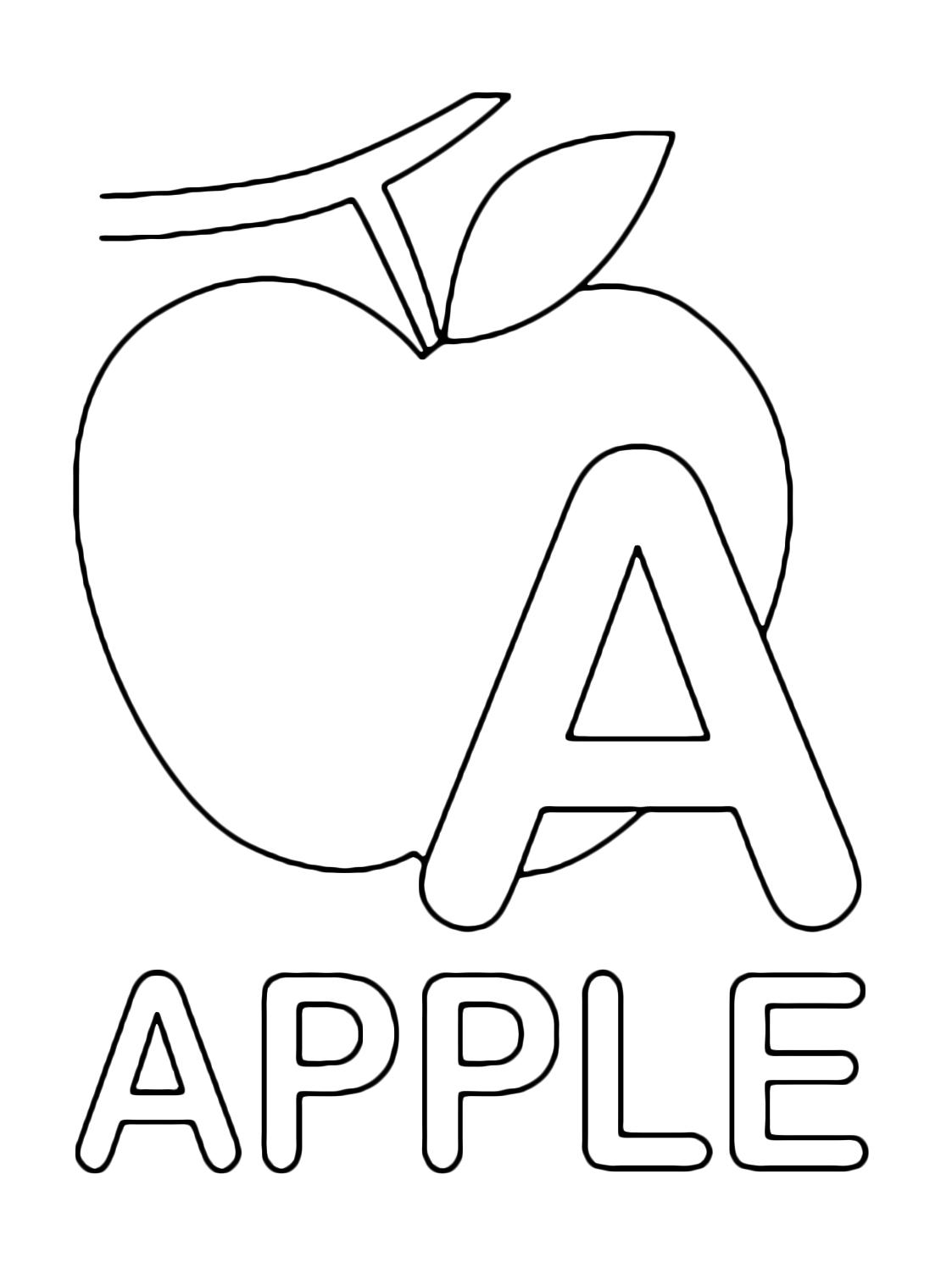 lettere e numeri   lettera a instampatello di apple mela