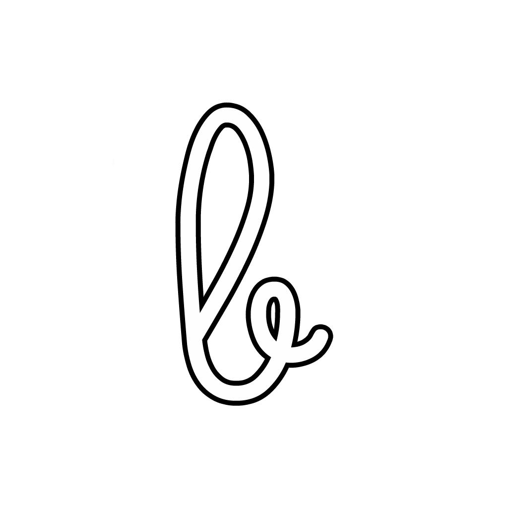 Lettere Alfabeto Corsivo Minuscolo: Lettera B Corsivo Minuscolo