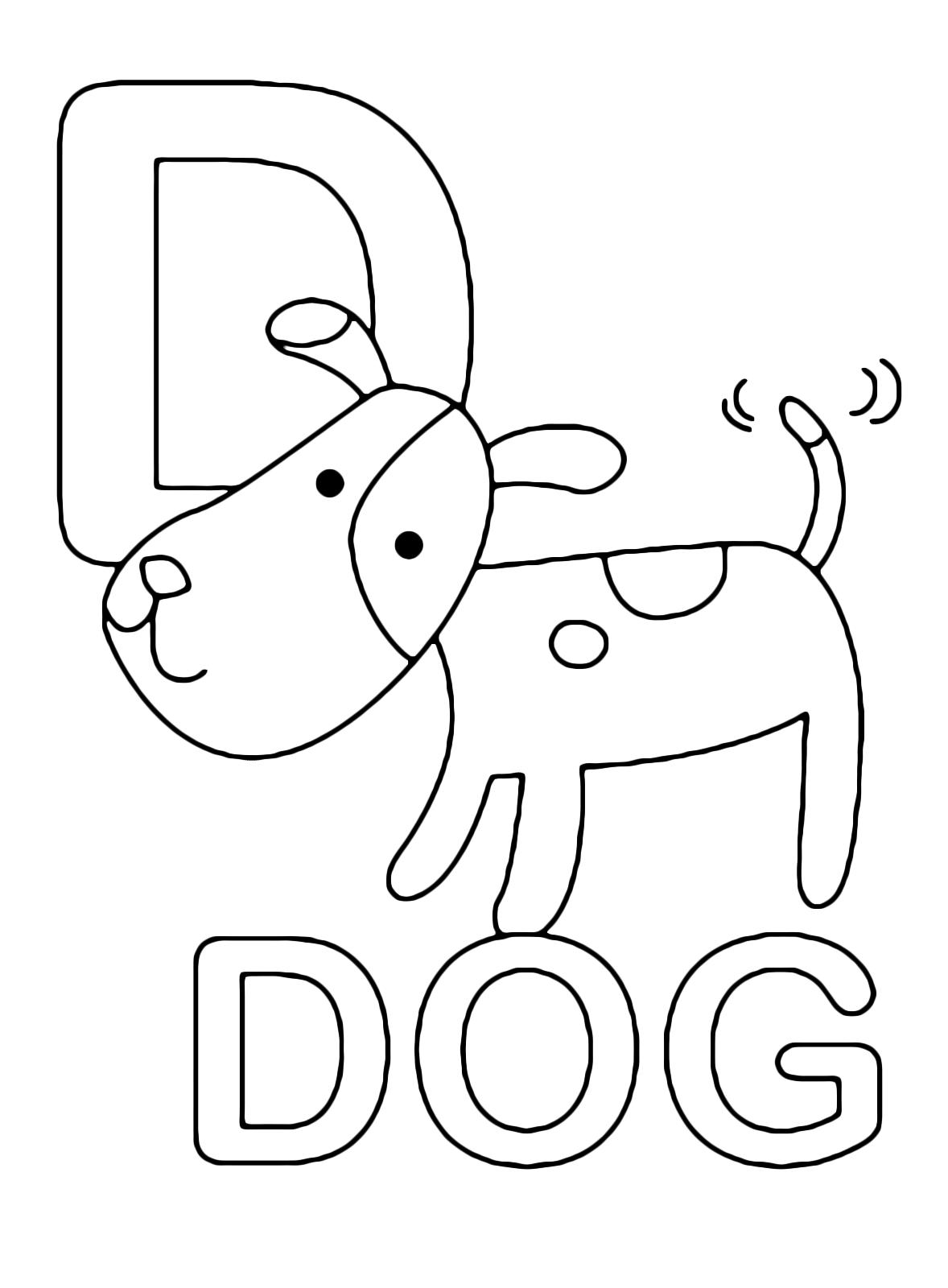 Lettere e numeri - Lettera D in stampatello di dog (cane