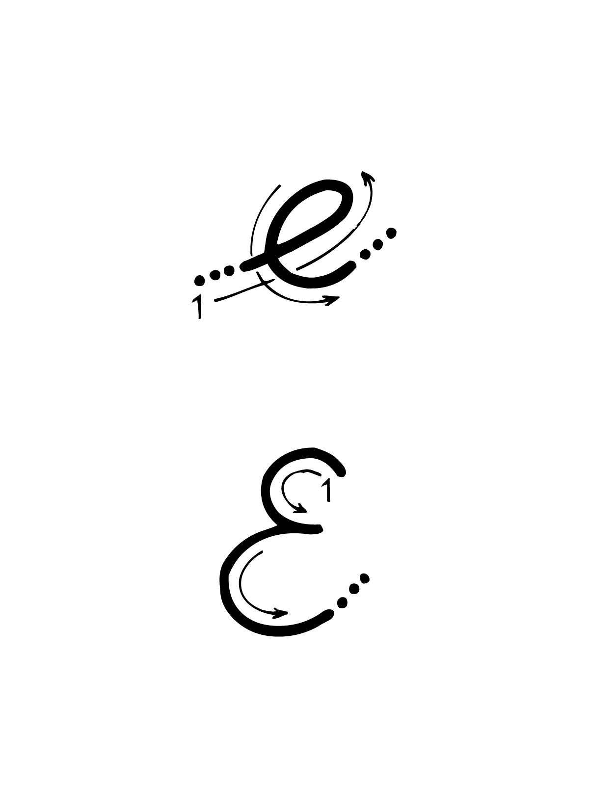 Bambini lettere dell alfabeto lettera e corsivo maiuscolo pictures to - Lettera E Con Indicazioni Movimento Corsivo Maiuscolo E Minuscolo