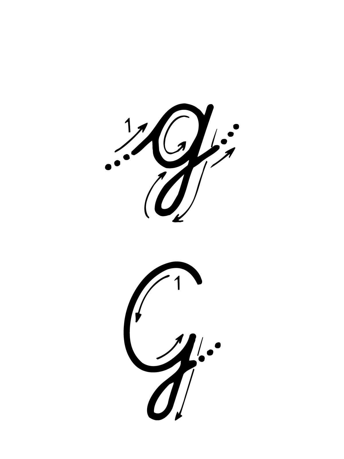 Favoloso e numeri - Lettera G con indicazioni movimento corsivo maiuscolo e  TZ27