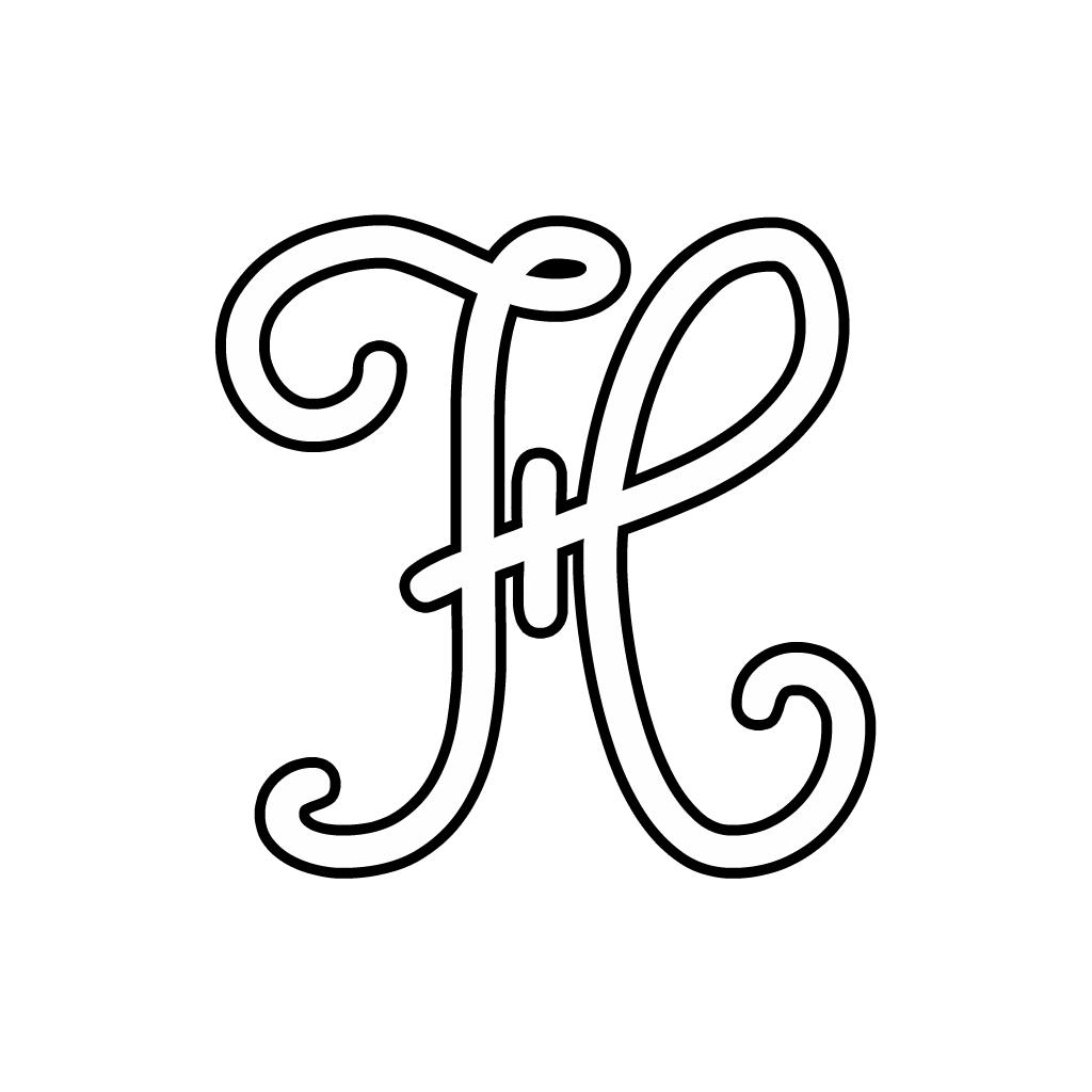 abbastanza e numeri - Lettera H corsivo maiuscolo YR17