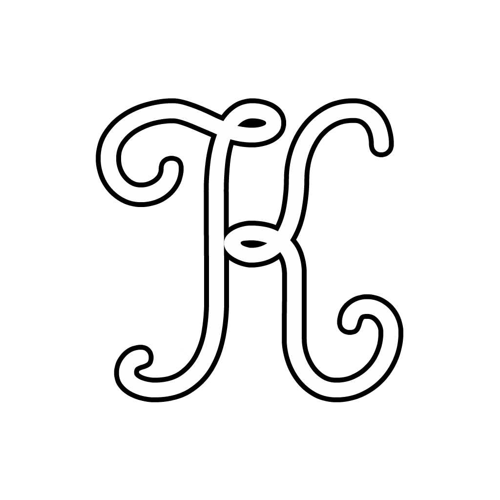 Molto e numeri - Lettera K corsivo maiuscolo AY86